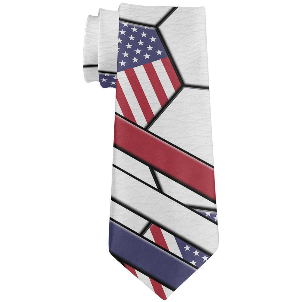 4th of July USA World Cup Soccer Ball All Over Neck Tie