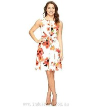 Adrianna Papell White and Coral Floral Fit and Flare Splice Dress Size 14W - $49.50