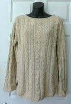 Ralph Lauren Jeans Company Natural Beige Tan Cotton Cable Pullover Sweat... - $38.00
