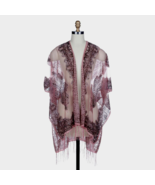 DAVID and YOUNG Gorgeous Burnout Fringe Glitter Cover-Up Kimono, Mauve N... - $10.08
