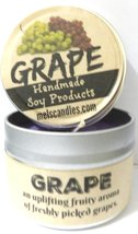 Grape 4oz All Natural Soy Candle Tin (Take It Any Where) Great Fruit Aroma - $6.00