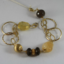 .925 RHODIUM YELLOW GOLD PLATED SILVER  BRACELET WITH QUARTZ image 1