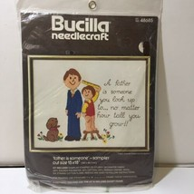 """Father is Someone Sampler Crewel Embroidery Kit Bucilla 11"""" x 14""""  - $9.74"""
