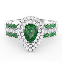 Pear Shape Green Sapphire White Gold Plated 925 Silver 3Pcs Engagement Ring Set - $98.89