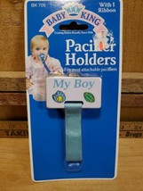 """My Boy"" Baby Pacifier Holder With Velcro Ribbon By Baby King, NEW IN PA... - $3.17"