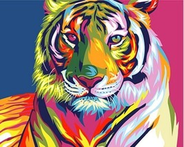 Paint By Numbers Kit Abstract Colorful Tiger 40CMx50CM Canvas - $14.36