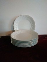 "Set of 7 Mikasa White Wedding Band Gold Salad Luncheon Plates 8"" - $65.44"