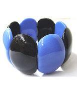 Vintage Lucite Black and Blue Oval Stretch Mod Bracelet Wide Chunky 60s - $20.00