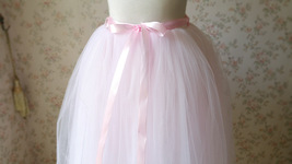 PALE PINK Midi Length Tulle Skirt Baby Shower Tulle Skirts Pink Petticoat NWT image 3