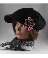 Jaunty Women's Newsboy Style Black & Pink Zipper Flower Accent Hat Cap - $24.95