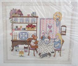 Creative Circle Cross Stitch Child Teaparty Teddy Bear Rabbit Cat Kit 12... - $18.99