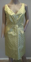 J Crew Collection Pembridge Gold Metallic Polka Dot Silk Blend Dress 10 P - $151.99
