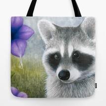 Tote bag All over print Raccoon 20 purple flower art painting L.Dumas - $26.99+