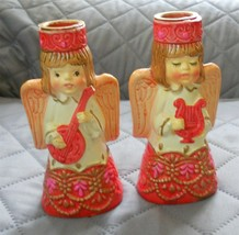 Vtg Commodore Angel Candle Holders Musicians Handpainted - $14.74