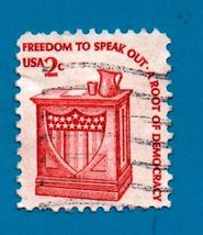 Scott  #1582 Used US Postage Stamp (1957) 2c Americana Speakers Stand - $1.99