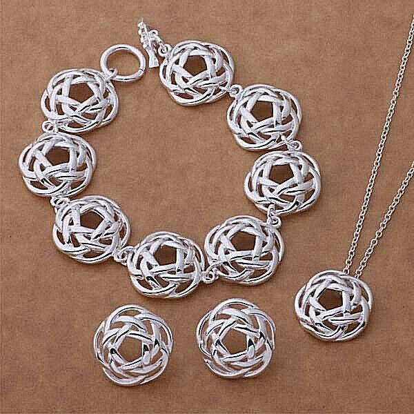 Primary image for Round Basket Weave Pendant Necklace Bracelet and Earrings Set NEW