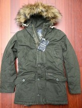 Abercrombie & Fitch Men's Sherpa Lined Faux Fur Olive Heavy Parka Coat XS - $128.31