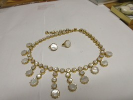 Costume Jewelry , Vintage , Necklace , Earrings  , Gold Tone / White Stones - $45.00