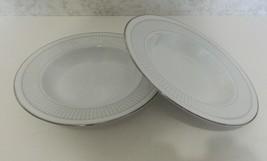 White Scapes Noritake Sheridan Platinum Rim Soup Bowls Embossed Edge Two... - $16.71