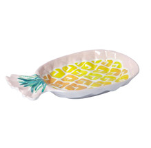 "Pineapple Melamine 7"" Salad Side Plates Tropical Set of 4 Beach House Pink - $24.63"