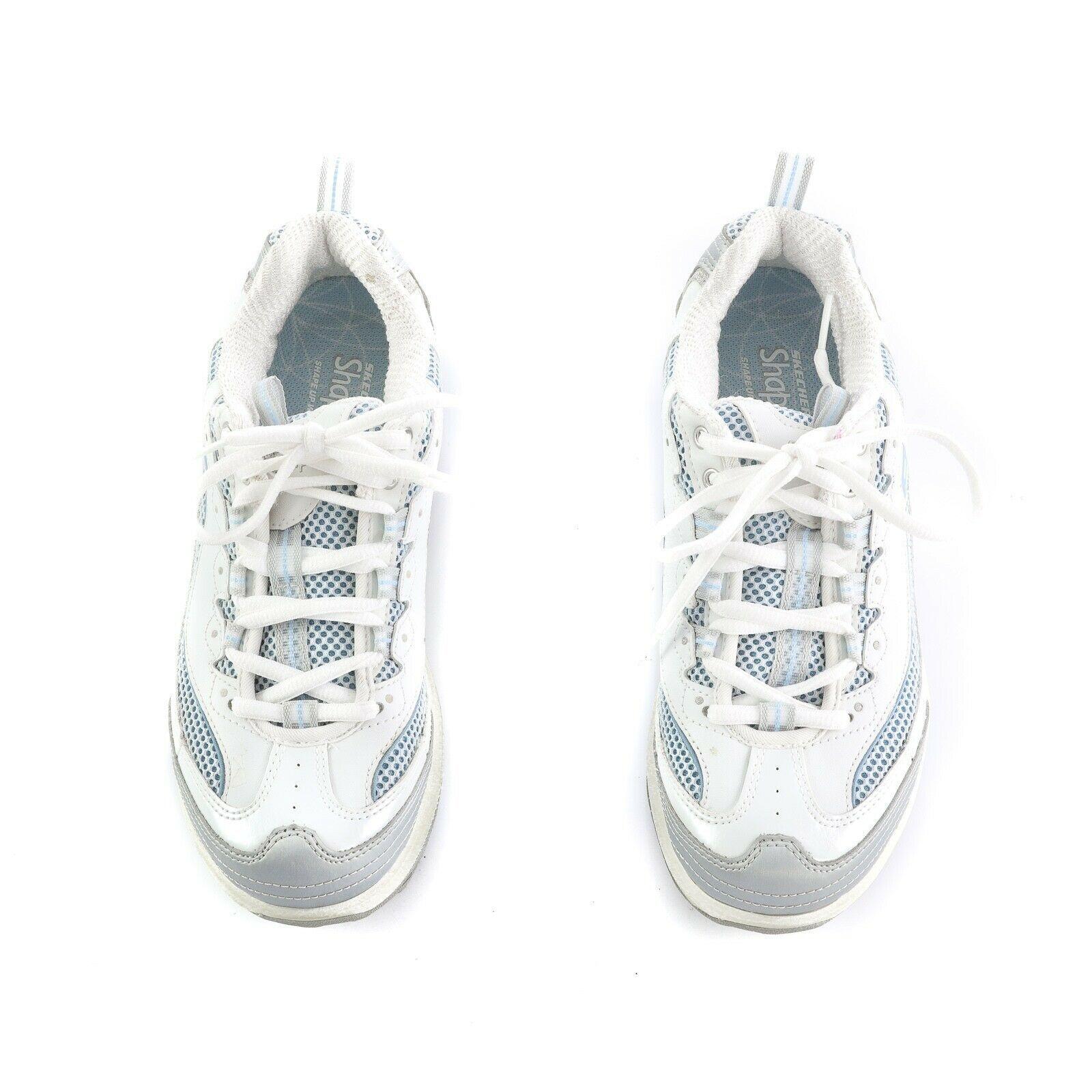Skechers Shape Ups Women Walking Toning Sneakers Shoes White Silver Size 7 11803