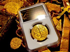 PERU 1710 8 ESCUDOS NGC GOLD PLT 1715 SHIPWRECK PIRATE TREASURE COIN JEW... - $299.00