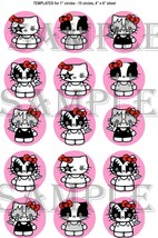 """15 Precut 1"""" Hello Kitty Kiss Jewelry Bottlecap Crafts Images Cake Topper  - $2.99"""
