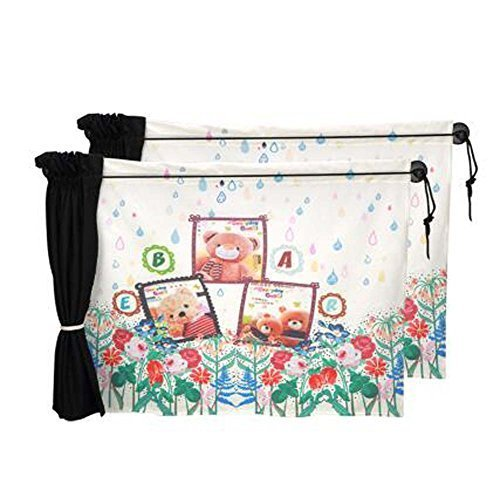 Set of 2 Cartoon Car Curtains Sunshades Sucker Type Sunshades, Bears