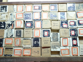 VINTAGE Wooden tray full of small watch part boxes with watch parts move... - $252.76