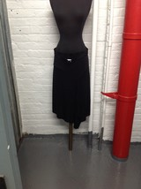 Belted A - Line Fit and Flared Bias Cut Black Flowy Skirt SZ M  - $19.79