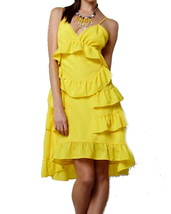 Anthropologie Chiquita Banana Dress 6 Medium Yellow Tiered Ruffles Tropi... - $64.60