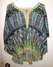 FIGUEROA & FLOWER Boho Tunic Top Blouse Peasant Green Blue Semi-Sheer Pl... - $21.77