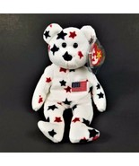 "Vintage Original TY Beanie Baby-1998 Glory Bear-White Red Blue 9""-New w/... - $41.70"