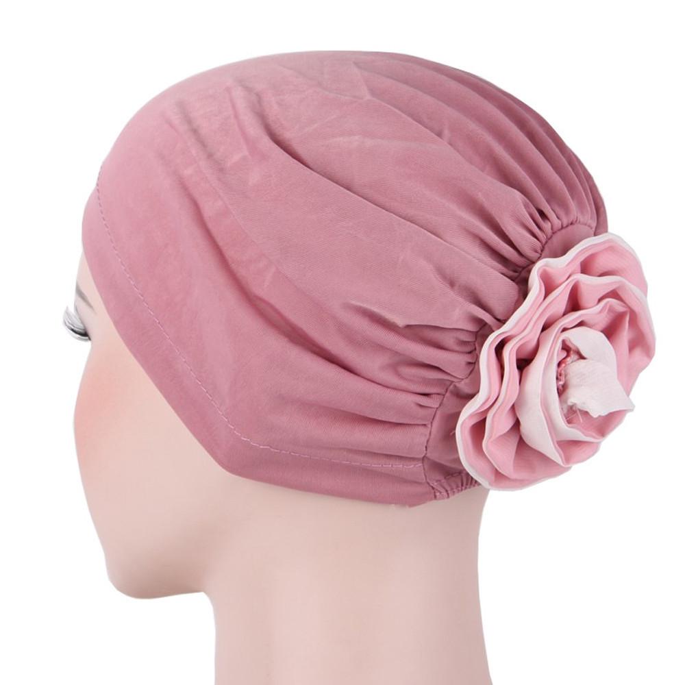 69154b2bcc0ad Women s capmuslim stretch turban chemo hats hair loss head scarf wrap hijib  cap chapeus para