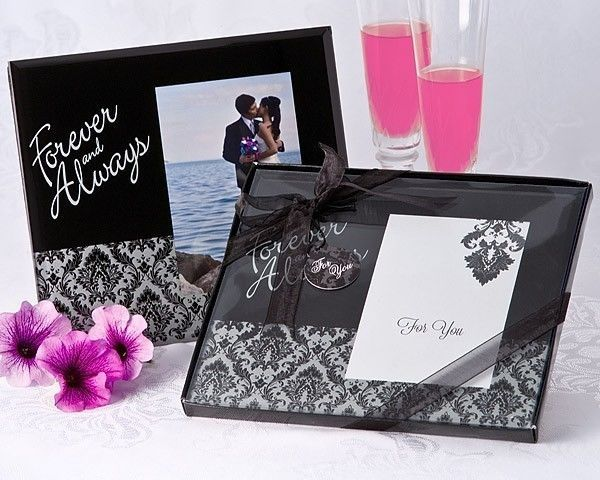 48 Forever & Always Black Damask Glass 3 x 5 Photo Frame Birthday Wedding Favor - $115.85