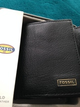 fossil trifold wallet black genuine leather with window image 9