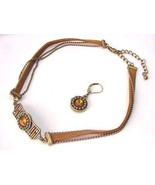 Brown Leather Necklace Matching Earings  Free Shipping Fashion Jewelery - $12.49