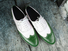 Handmade Men's Green & White Wing Tip Lace Up Dress/Formal Leather Shoes image 1
