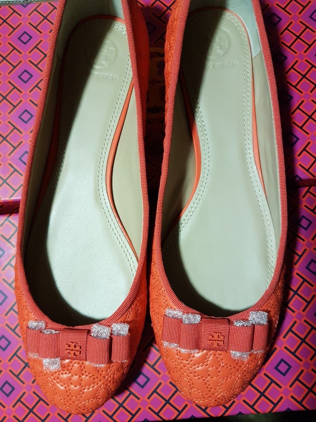 Tory Burch bryant quilted Leather Flats Shoes - poppy coral