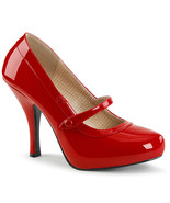 "Sexy Retro Pinup 4 1/2"" High Heel Hidden Platform Red Mary Janes Pumps Shoes - $57.95"