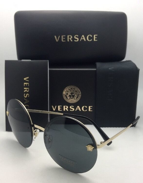 New VERSACE Sunglasses VE 2176 1252/87 59-18 Gold & Black Round Frame w/ Gray