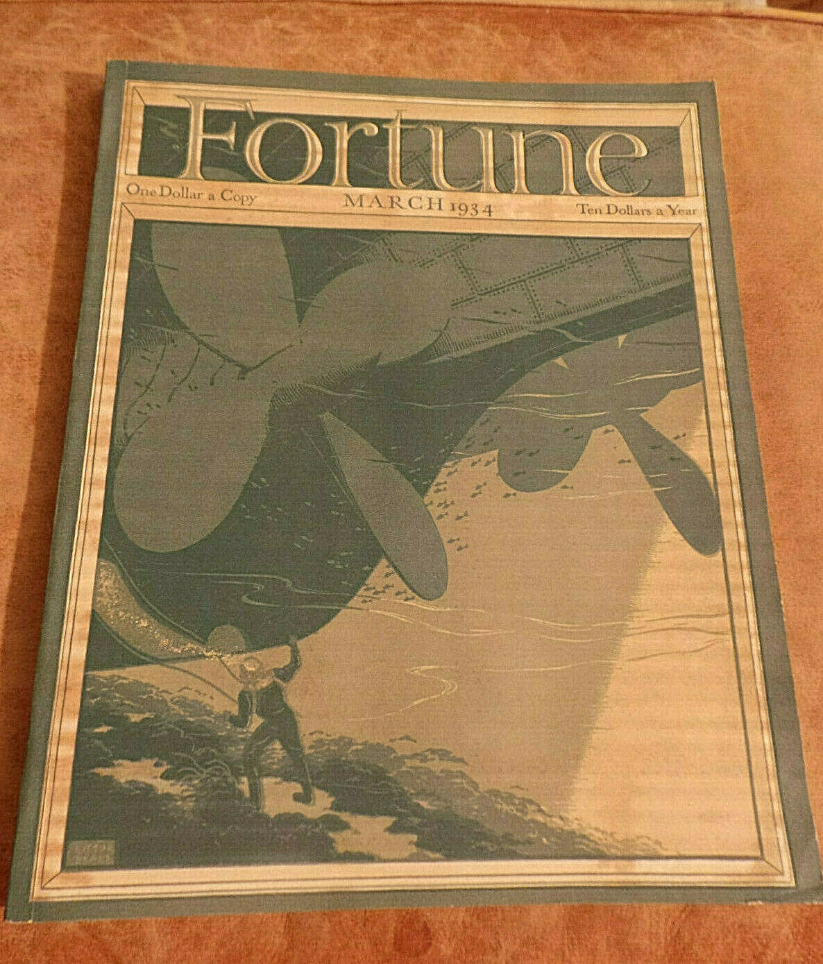 Primary image for Vintage Fortune Magazine March 1934 w orig mailing box; Yale U; Zinc; Railroads