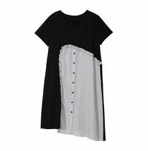 New Spring Summer Round Neck Short Sleeve Ruffles Pleated Loose Dress Fo... - $38.96