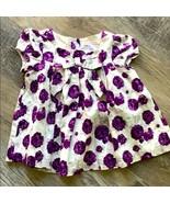 Janie & Jack Floral Swing Twirl Dress 3 Purple White Lined Bow Button Back - $27.88