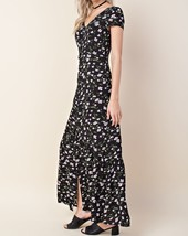 Black Maxi Dress, Black Maxi Dress with Slit, Maxi Floral Dresses, Womens
