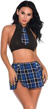 Oliveya School Girl Lingerie Set Sexy Uniform Set Role Play Mini Plaid Skirt image 8
