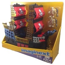 Fisher price Imaginext Black and Red Pirate Ship with 2 Figures Skull Bones - $140.24