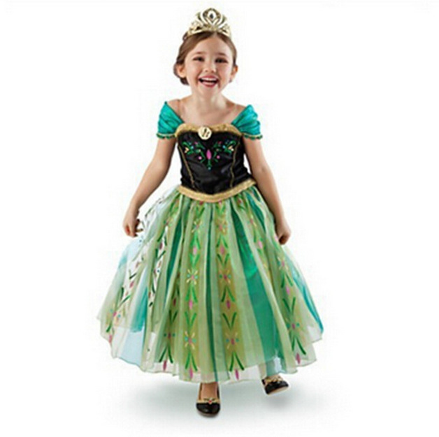 Tea Length Essar  Pricess Cosplay Dress Caped Sleeve Kids Party Gowns Halloween image 2