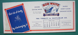 INK BLOTTER 1957 -  AD Bob White Table Syrup Torbitt Castleman Louisvill... - $4.49