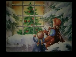 Children Window Tree Snow Vintage Christmas Card - $4.00